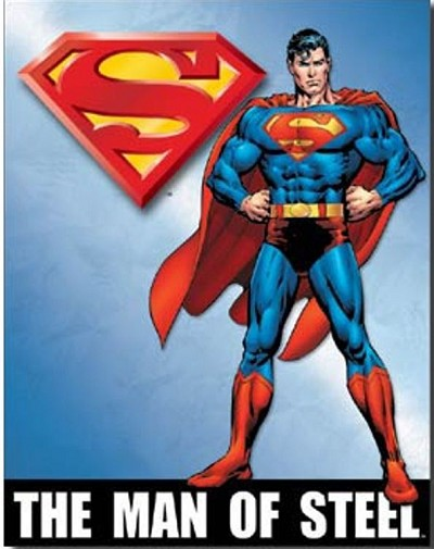 Superman of Steel Metal Tin Sign