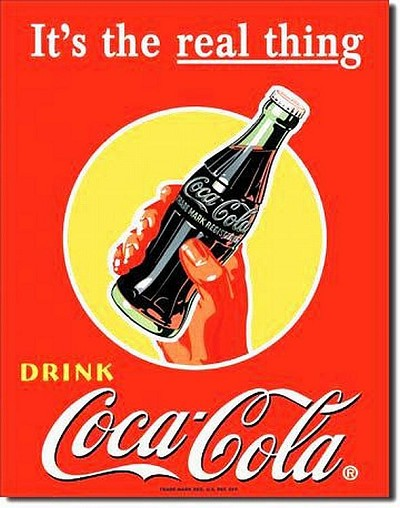 Coke Bottle w/Hand Real Thing Metal Tin Sign