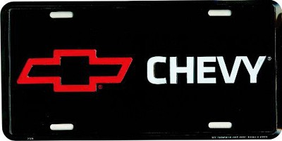 Chevy Logo Black License Plate