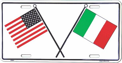 US and Italian Flag License Plate