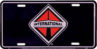 International Truck Black License Plate