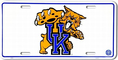Kentucky Wildcats White License Plate