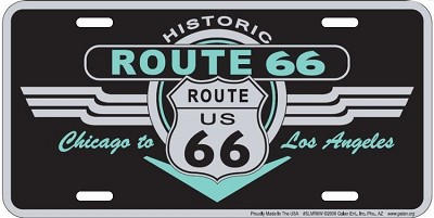 Historic Route 66 Black Deco License Plate