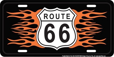 Route 66 w/ Flames License Plate