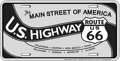 Route 66 Main Street Gray License Plate