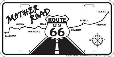 Route 66 B/W Main Street License Plate