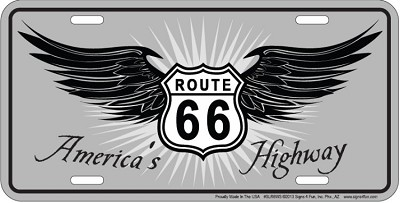 Route 66 Wings Americas License Plate