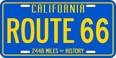 Route 66 California Blue License Plate