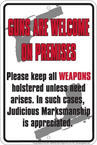 Guns are Welcome Sm. Parking Sign