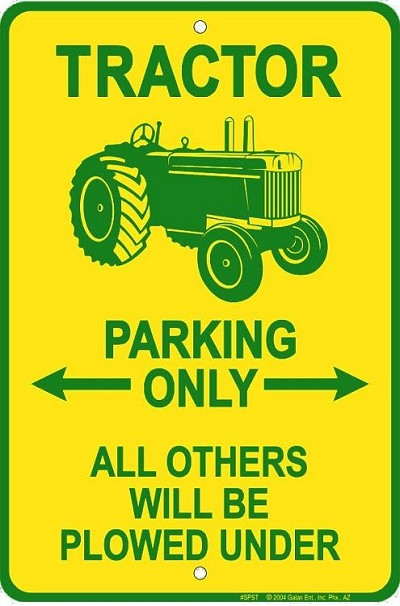 Tractor Sm. Parking Sign