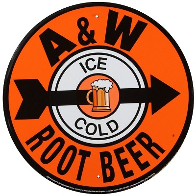 A & W Root Beer Round Sign