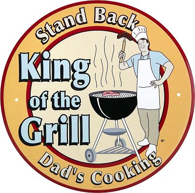 King of the Grill Round Sign