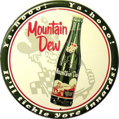 Mountain Dew Bottle Round Sign