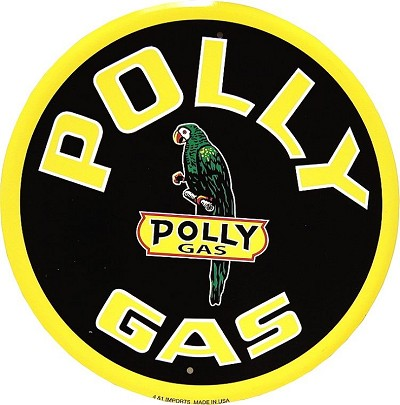 Polly Gas Oil Round Sign